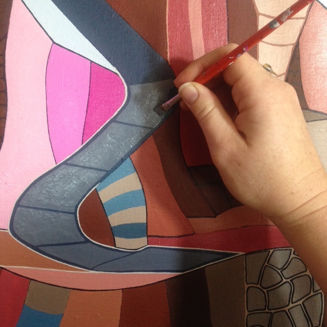 """work in progress, """"the give and take of time"""" (note my hand at 35 weeks pregnant, loads of fluid!)"""