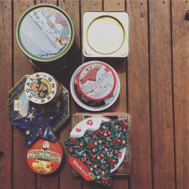 Biscuits tins from the Op Shop